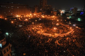 A photo of Cairo's Tahrir Square, taken on Feb. 12, 2011, after the resignation of President Hosni Mubarak. Photo by Nebedaay/Creative Commons licensed.