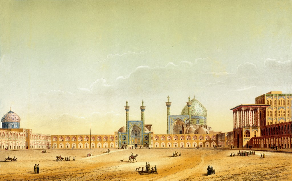 A 19th century drawing of Naqsh-e Jahan Square, Isfahan by the French architect Xavier Pascal Coste.