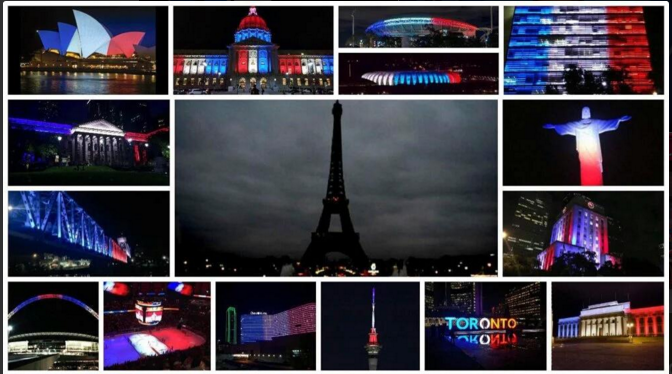 A Darkened Eiffel Tower And Monuments Around The World Lit In The Colors Of The French Flag After The Nov. 14 Terror Attacks. Twitter Photo Montage Posted By @Komal_Indian