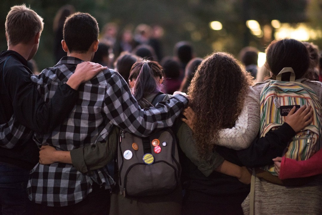 Stanford University Students Gather At White Memorial Plaza To Express Their Grief Over Terror Attacks. Photo By Thomas Trinelle.