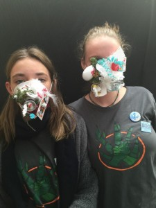 Students Audrey Sparks and Daisy James make masks for Art of Change 21. Photo by Melati Wijsen.