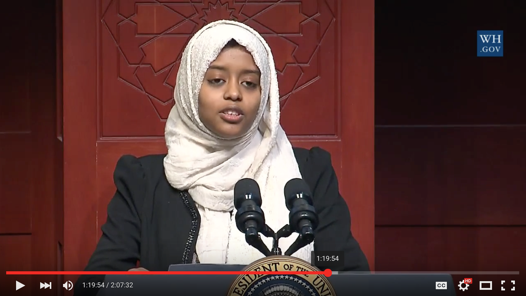 University Of Maryland-Baltimore Student Sabah Muktar Gives A Powerful Speech While Introducing President Barack Obama During His Visit To A Baltimore Mosque On Feb. 3, 2016. Screenshot Of White House Video On YouTube.
