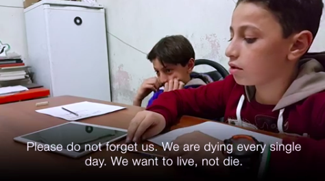 "Screenshot Of BBC Video: ""Aleppo Kids: Don't Forget Us,"" Oct. 13, 2016"