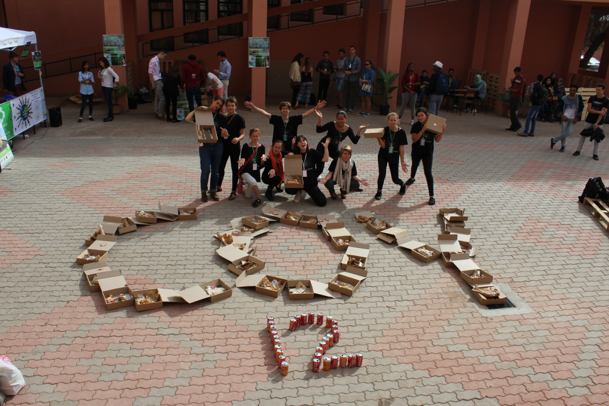 Students From Green School Of Bali, Indonesia, Assemble A Cardboard Collage To Draw Attention To Unnecessary Food Packaging For Lunches Provided To Attendees At The Conference Of Youth In Marrakesh, Morocco, On Nov. 5, 2016. Photo Credit: GS Green Generation.