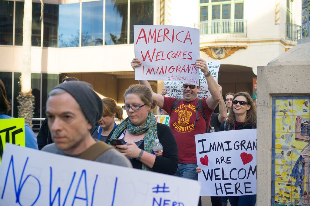San Antonio protesters decry Trump's original travel ban on Jan. 29.