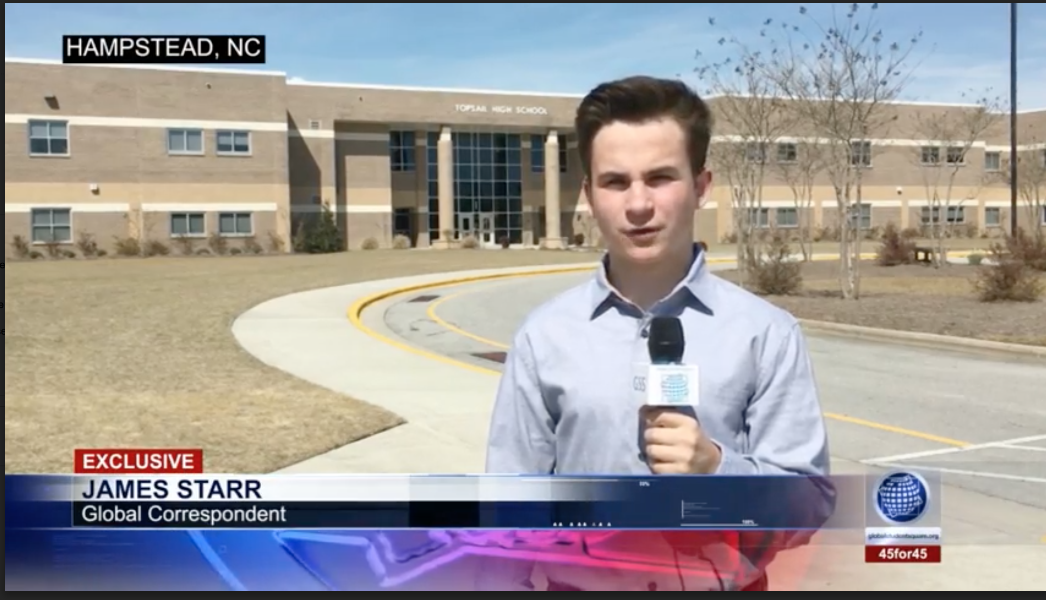 James Starr, GSS Correspondent From Pender Early College High School In Burgaw, North Carolina. Screenshot By GSS Staff.